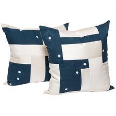 Pair of Japanese Shibori and Vintage Chinese Silk Pillows
