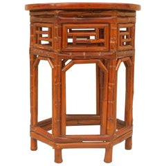 Bamboo End Table with Black Lacquer Top