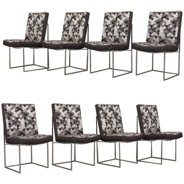 Set of 8 Modern Milo Baughman for Thayer Square Chrome Framed Dining Chairs For Sale
