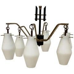 Stilnovo Italian Chandelier, Opaline Glass, Brass, 6 Lighting Arms, Italy 1960s