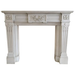 Soft-Toned, Carrara-Marble Fireplace, Late 19th Century
