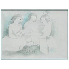 Original Drawing with Color Highlights by Marie Laurencin, Women with Ukelele