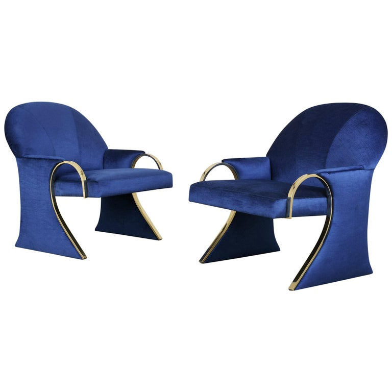 Unique Pair of Modern Lounge Chairs Newly Upholstered