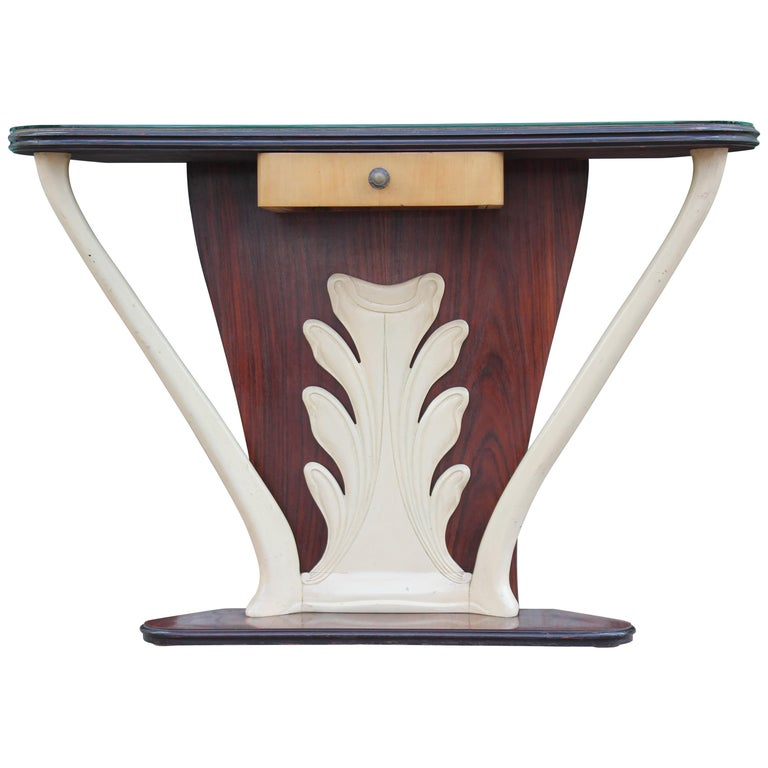 Modern Italian Paolo Buffa Style Two-Tone Console Table with Glass Top