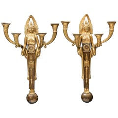 Pair French Empire Bronze Sconces signed, 19th Century