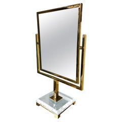 Charles Hollis Jones Vanity Mirror in Polished Brass and Lucite