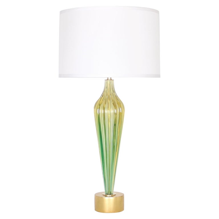 Hollywood Regency Seguso Lamp in Green and Gold Murano Glass