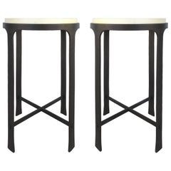 Iron and Goatskin Side Tables Attributed to Holly Hunt