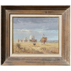 """G. Harvey Cowboys """"Crossong the Texas Plains""""  Early Painting 1968"""
