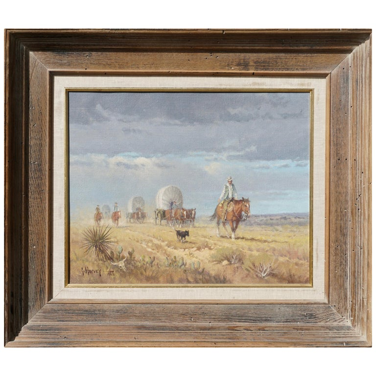 "G. Harvey Cowboys ""Crossong the Texas Plains""  Early Painting 1968 For Sale"