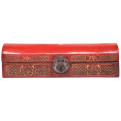 19th Century Chinese Red Lacquer Document Box