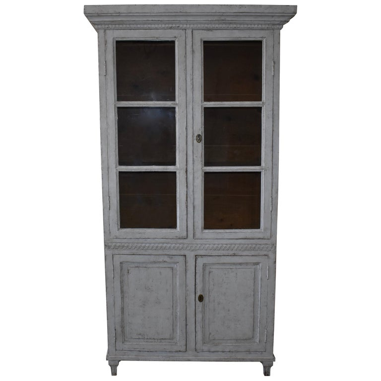 19th Century Swedish Carved Bookcase For Sale