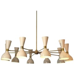 "Large Modern ""Ludo"" Chandelier in White Enamel and Brass by Blueprint Lighting"