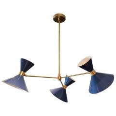 'Monarch' 3-Arm Modern Pendant in Brass and Blue Enamel by Blueprint Lighting
