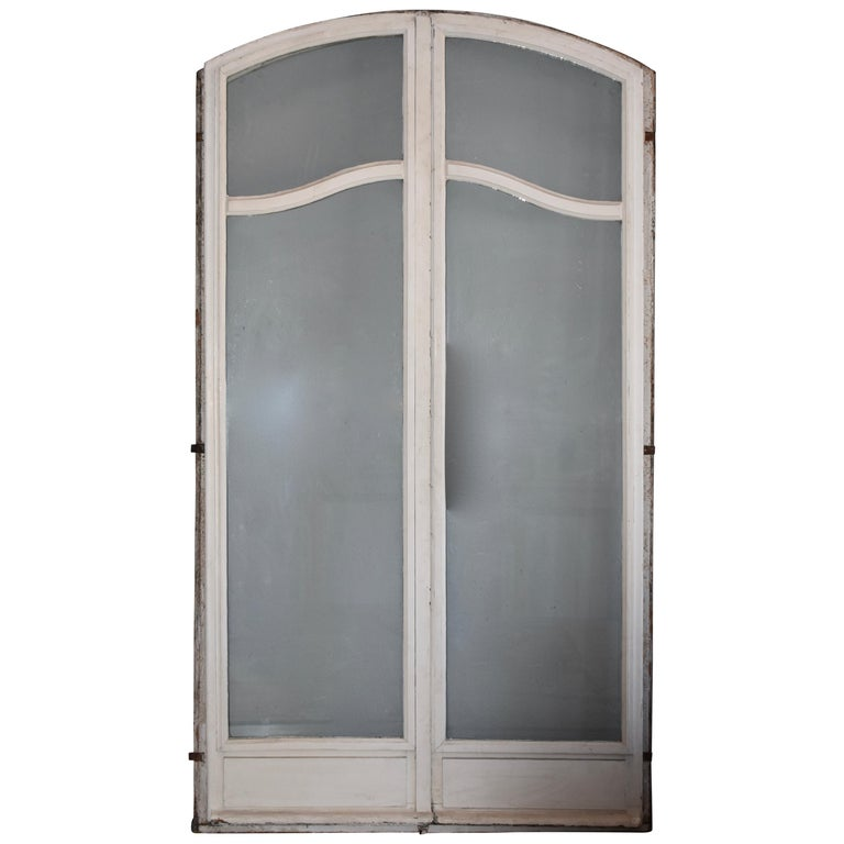 Pair Of 19th Century French Arched Glass Panelled Doors For Sale At