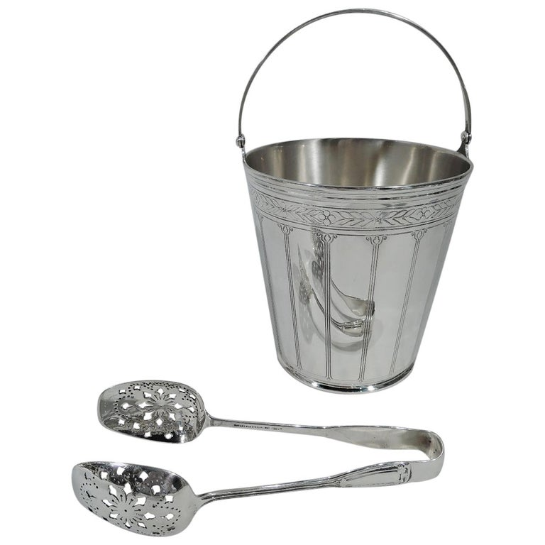 Tiffany & Co. American Art Deco Modern Sterling Silver Ice Bucket with Tongs