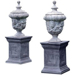 Pair of 18th Century Style Lead Urns