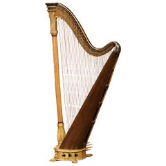 Early 19th Century English Maple and Gilt Bronze Double Action Harp by J. Erat