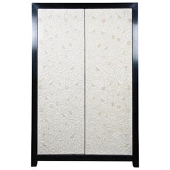 Carved Floral 2 Door Armoire - Cream Lacquer by Robert Kuo, Limited Edition