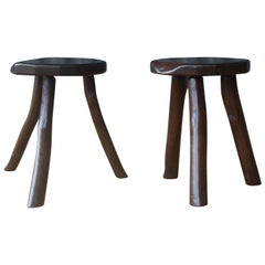 Pair of Walnut Stools, France, 1950s