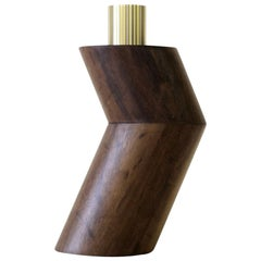 Ginga Vase 'Small' in Solid Wood Imbuia and Brass, by Gustavo Dias