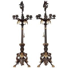 19th Century Restauration Large Candelabra in Gilt and Patinated Bronze