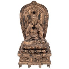Japanese Gilt Sakyamuni Buddha with Stele