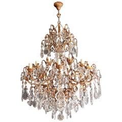Beaded Crystal Chandelier Antique Ceiling Lamp Florentiner Lustre Art Nouveau