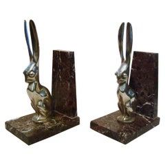 Art Deco Hare or Rabbit bookends designed by Becquerel