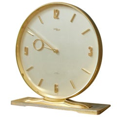 Vintage Imhof for Saks Fifth Avenue Circular Brass Desk Clock Switzerland, 1960s