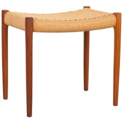 Niels Moller Mid-Century Modern Teak and Cord Stool