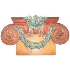 Polychromed Painted Pilaster Capital with Swags and Scrolls