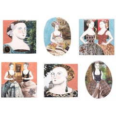 Set of Six Mixed-Media Tiles by Pauline Hughes