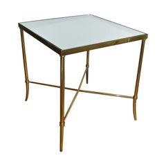 Italian Brass x Base Side Table with Inset Mirrored Top
