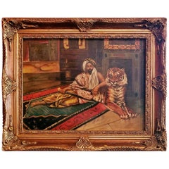 19th Century Oil on Canvas of Raj or Prince with Tiger