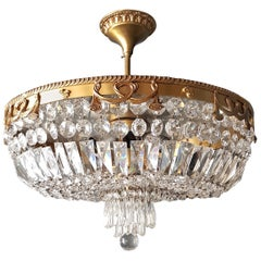 Crystal Chandelier Brass Lustre Low Ceiling
