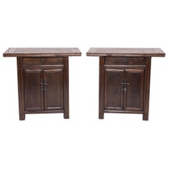 Pair of Two-Door Chestnut Cabinets