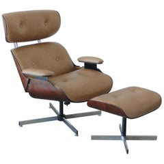 Plycraft Eames Style Leather Lounge Chair and Ottoman