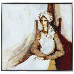 Oil on Panel Board of a Seated Woman with Head Scarf, Unsigned, circa 1965