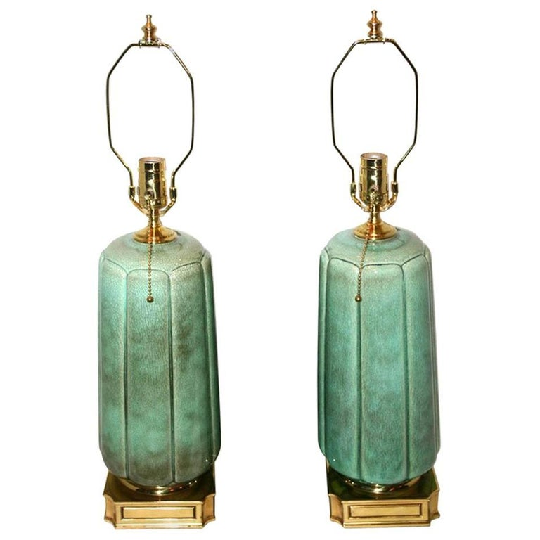 Pair of Crackled Celadon Porcelain Lamps