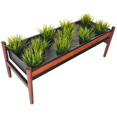 Danish Mid-Century Modern Long Rosewood and Black Zinc Planter