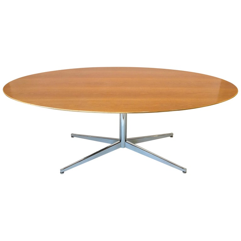 Florence Knoll Elliptical Oval Oak Table on Chrome X Base For Sale