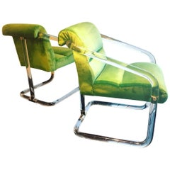 Vintage Pair of Lion in Frost Signed Lucite and Brass Armchairs Green Velvet