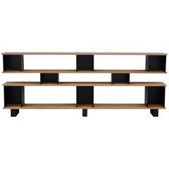 Low Black Steel 'Horizontale' Oak Shelving Unit by Design Frères