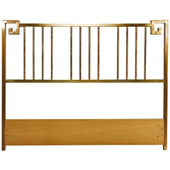Hollywood Regency Greek Key Style Brass Queen Headboard Bed by Mastercraft