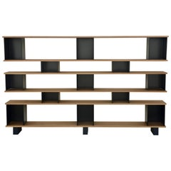 6 Shelves Black Steel 'Horizontale' Oak Shelving Unit by Design Frères
