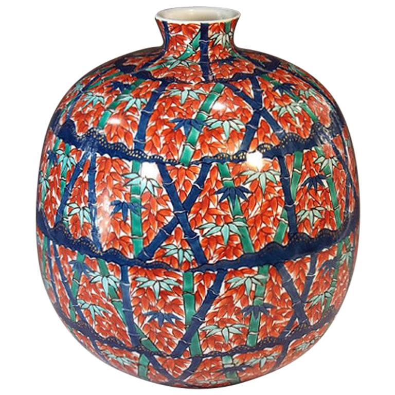 Contemporary Imari Red Blue Porcelain Vase by Japanese Master Artist