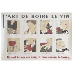 Vintage Poster L'Art de Boire le Vin d'apres Martin, circa 1980, French Wine