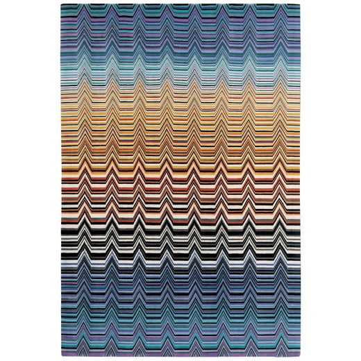 Missoni Home Saguaro Rug in Blue and Beige with Chevron Pattern