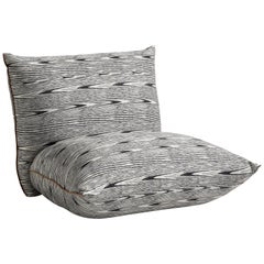 Missoni Home Armless Armchair in Black and White with Striped Pattern